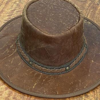 Kangaroo Leather Hat - Squashy Crackle - Dark Brown