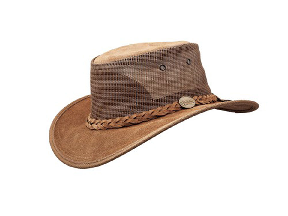 Cattle Suede Leather Hat - Foldaway Cooler - Hickory