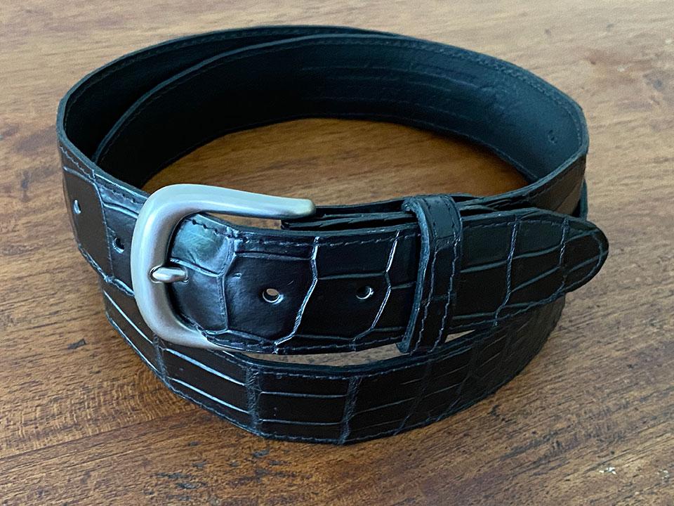 Best Crocodile Leather Bellyskin Belt - Black