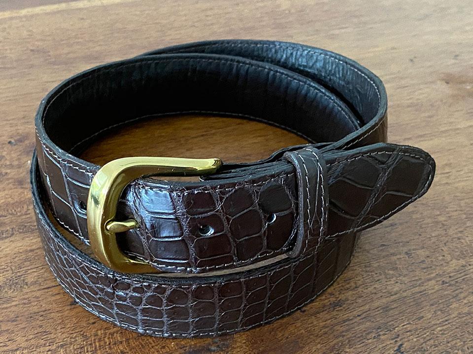 Best Crocodile Leather Bellyskin Belt - Brown