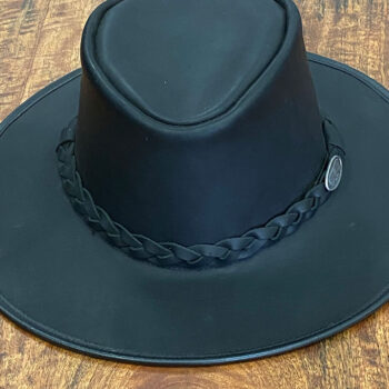 Buffalo Leather Hat - The Outback - Black