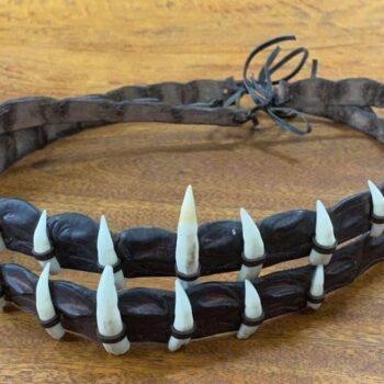 Crocodile Skin Hatband With Genuine Crocodile Teeth